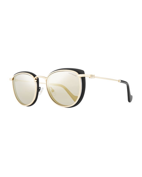 Moncler Metal Cat-Eye Mirrored Universal Fit Sunglasses,