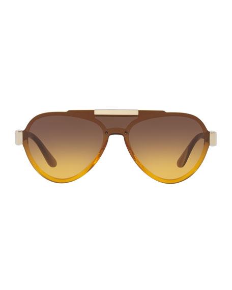 Men's Plastic Aviator Sunglasses, Brown