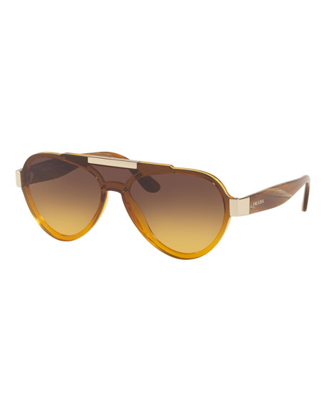 Prada Men's Plastic Aviator Sunglasses, Brown