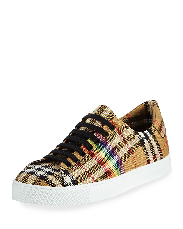 46a1ce95b5a Burberry Men s Albert Rainbow Check Sneakers