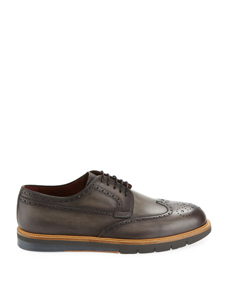 Men's Wing-Tip Leather Brogue Sneaker