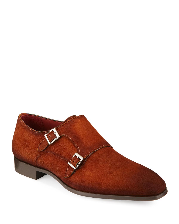 Magnanni For Neiman Marcus Men S Suede Double Monk Shoe Neiman Marcus