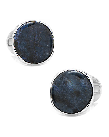 Polished Stone Round Cuff Links