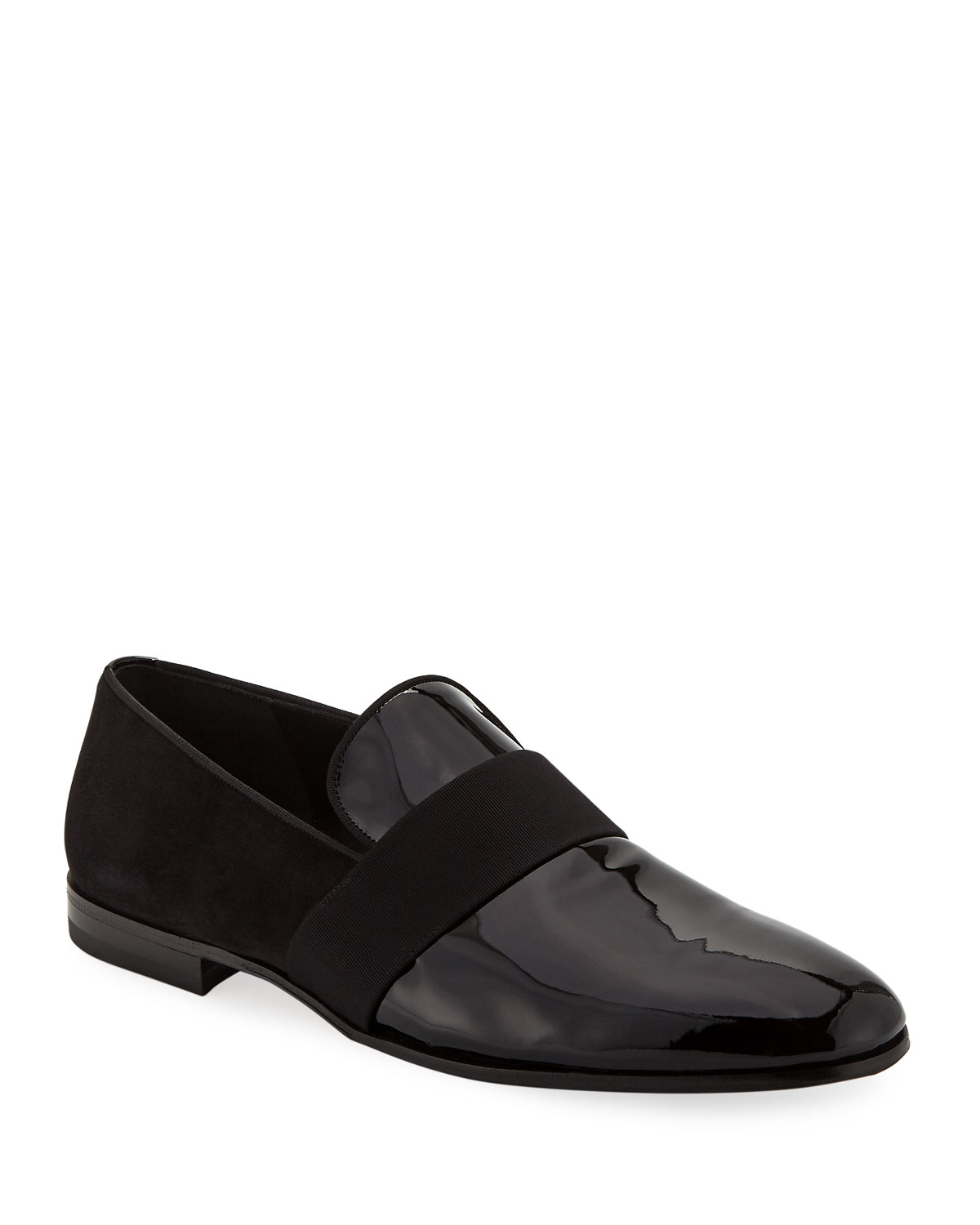 87718eb4a797 Salvatore FerragamoMen s Bryden Patent Leather   Suede Slip-On Dress Loafer  Shoe