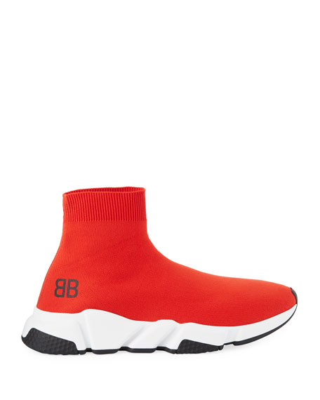 Men's Speed Mid-Top Trainer Sock Sneakers, Red