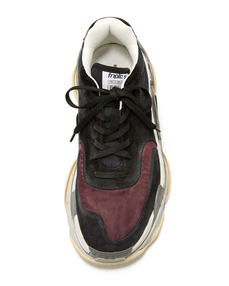 Men's Triple S Mesh & Leather Sneakers, Dark Red