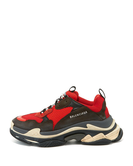 Men's Triple S Mesh & Leather Sneakers, Red