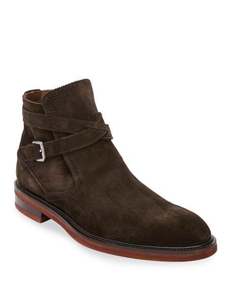 Salvatore Ferragamo Men's Becker Suede Boots with Strap