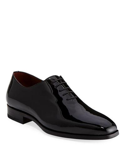Men's One-Piece Patent Leather Oxford Shoe  Black
