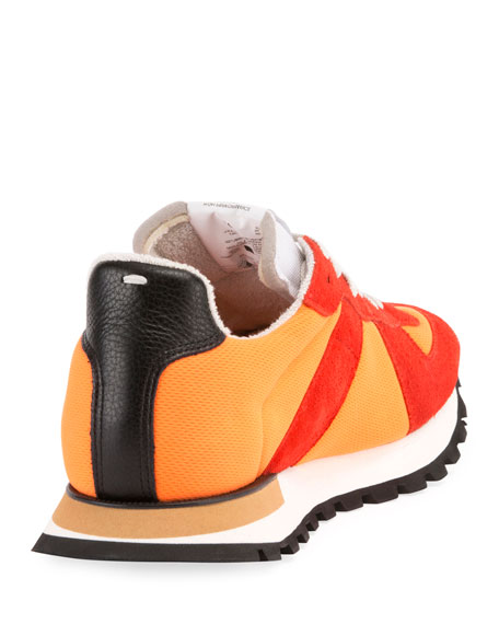 Men's Replica Nylon & Suede Sneakers, Orange