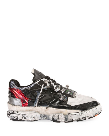 Maison Margiela Men's Colorblock Fusion Leather Trainer Sneakers