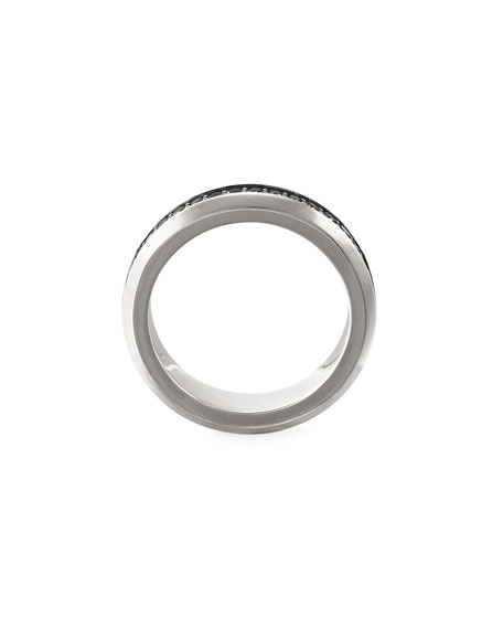 David Yurman Men's Streamline Silver Band Ring with Black Diamonds