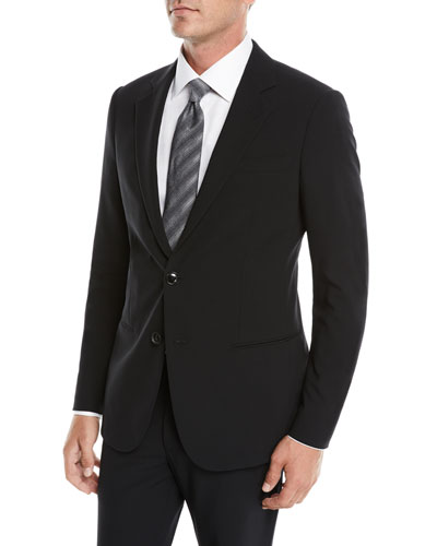 Men's Crepe Wool Two-Piece Suit  Black