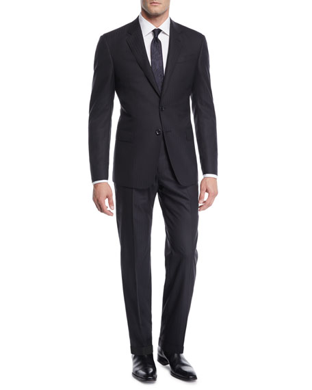 Giorgio Armani Men's Herringbone Two-Piece Wool Suit