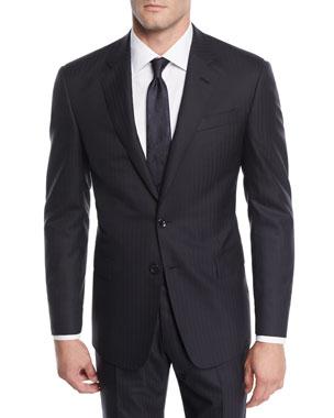 aa502e75d31 Giorgio Armani Men s Herringbone Two-Piece Wool Suit