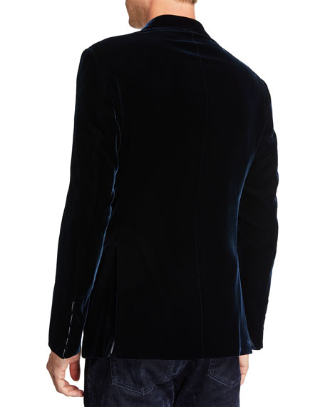 Giorgio Armani Men's Velvet Two-Button Sport Coat, Navy