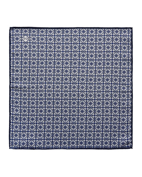 Tile Pattern Silk Pocket Square