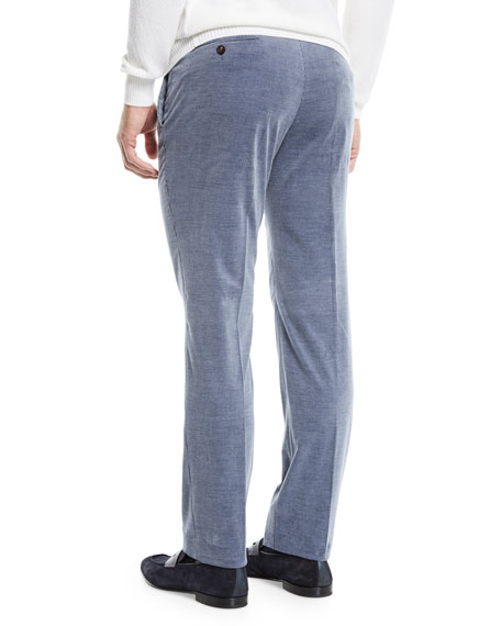 Ermenegildo Zegna Men's Flat-Front Cotton/Cashmere Corduroy Trousers, Gray