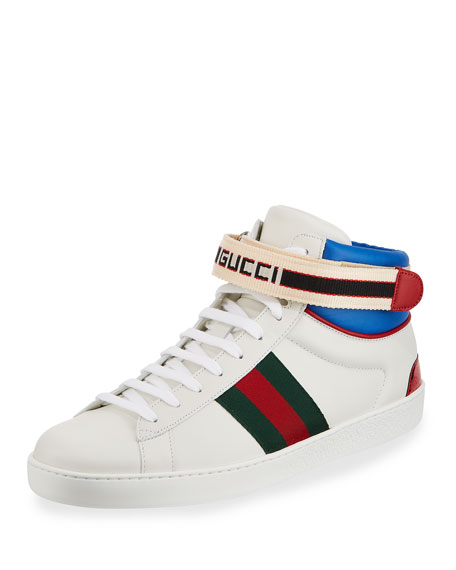 GUCCI Ace Logo-Striped Leather Sneakers - White Size 7.5 M
