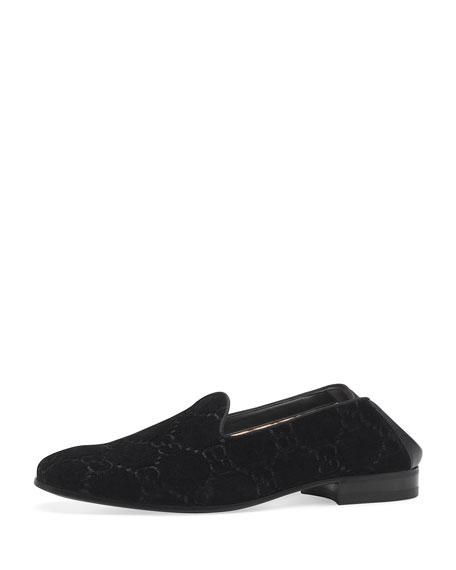Grosgrain-Trimmed Velvet Loafers, Black