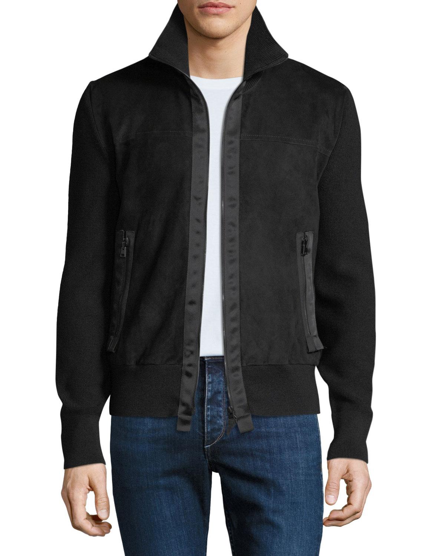 d011d78e4 Men's Suede Zip-Front Blouson Jacket