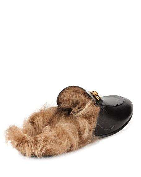 Gucci Men's Princetown Fur-Lined Calf Leather Mule Slipper