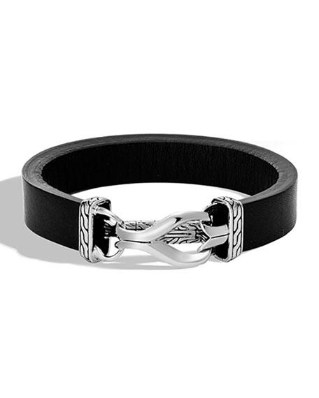 John Hardy Men's Classic Chain 13mm Leather Bracelet