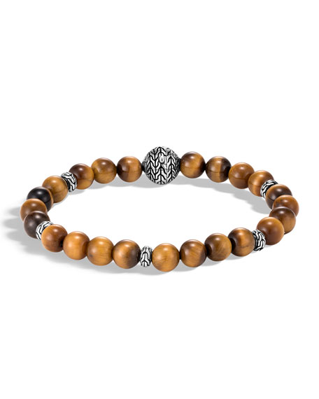 John Hardy Men's Classic Chain Bead Bracelet w/ Tiger's Eye