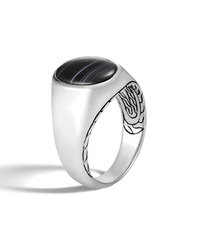 Men's Classic Chain Silver Signet Ring with Banded Agate