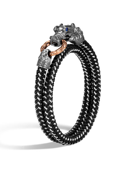 John Hardy Men's Legends Naga Bracelet w/ Nylon Cord