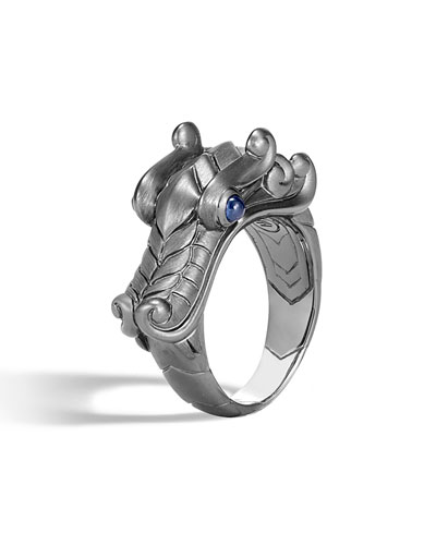 Men's Legends Naga Dragon Silver Ring w/ Sapphires