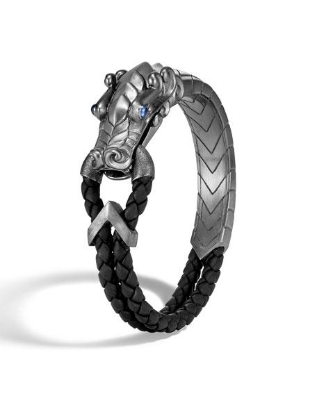 John Hardy Men's Legends Naga Silver Bracelet w/ Leather