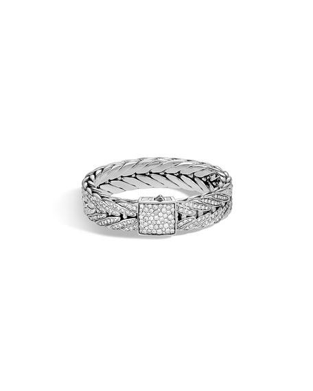 John Hardy Men's Modern Chain Silver Bracelet w/ Diamonds