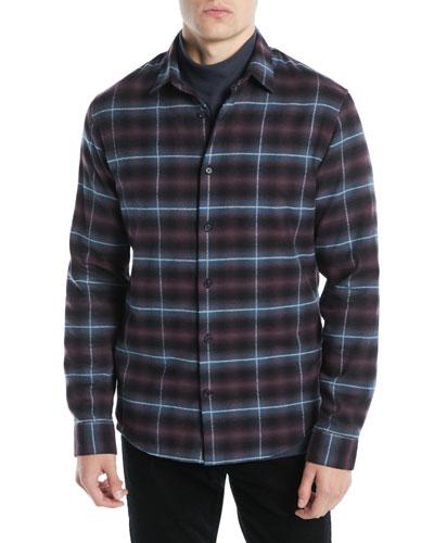 Men's Shadow Grid-Plaid Button-Down Shirt