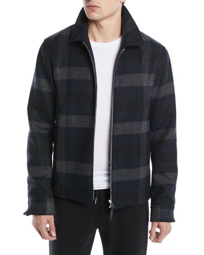 Men's Wyatt Zip-Front Mosaic Plaid Wool-Blend Jacket