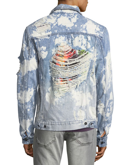PRPS Men's Bleached Ripped Jean Jacket