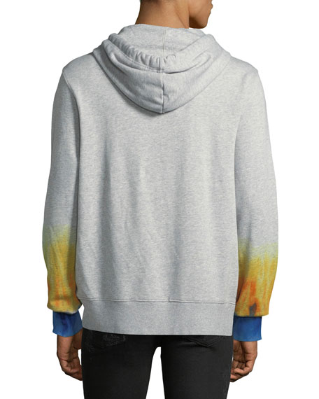 PRPS Men's Hoodie Fleece Pullover Sweater with Rainbow Detail
