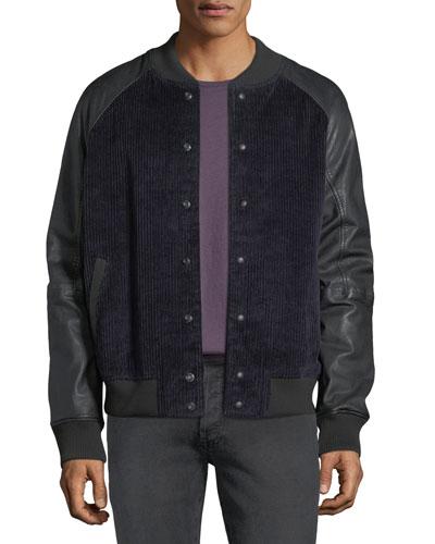 Men's Leather-Sleeve Corduroy Varsity Jacket