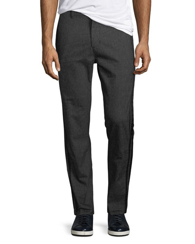 Men's Flat-Front Pants with Tonal Side-Taping