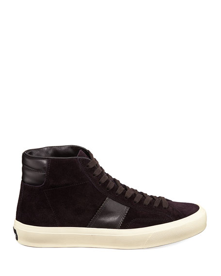 Image 3 of 4: TOM FORD Men's Cambridge Suede High-Top Sneakers