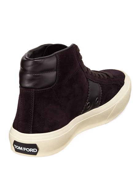 Image 4 of 4: TOM FORD Men's Cambridge Suede High-Top Sneakers