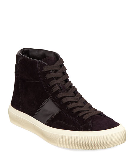 Image 1 of 4: TOM FORD Men's Cambridge Suede High-Top Sneakers