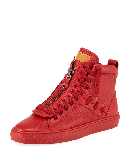 Men's Hekem Patchwork Deerskin Leather High-Top Sneakers