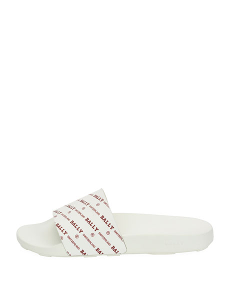 Image 2 of 3: Men's Slanter Logo-Print Pool Slide Sandal