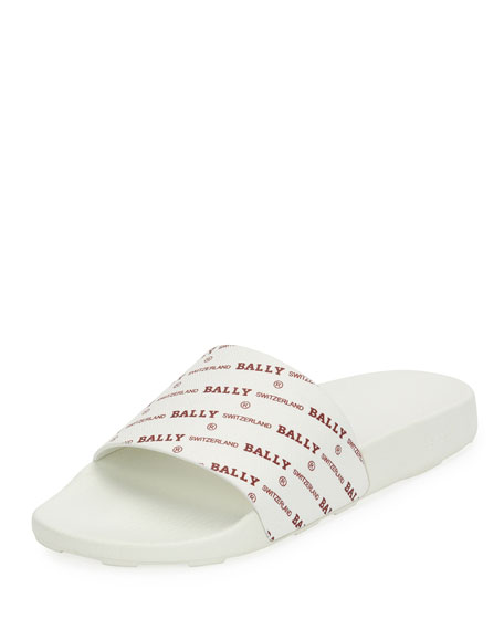 Image 1 of 3: Men's Slanter Logo-Print Pool Slide Sandal