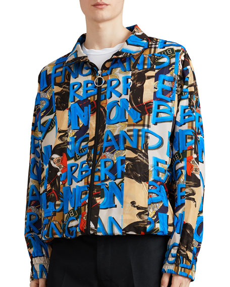 Burberry Men's Peckham Graphic-Logo Wind-Resistant Jacket and