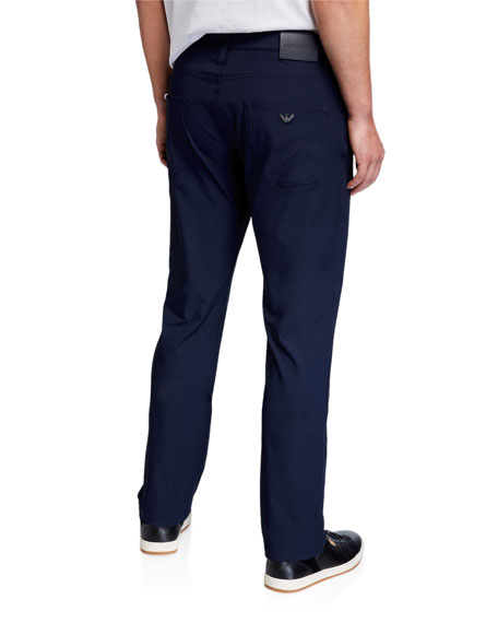 Image 2 of 3: Emporio Armani Men's Techno-Stretch Straight-Leg Pants