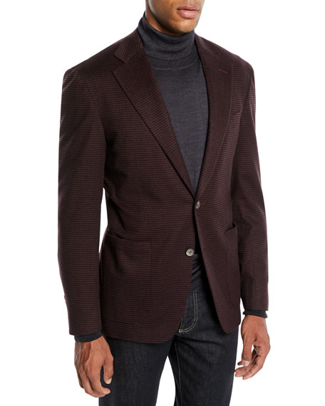 CANALI Men'S Two-Button Check Super 170S Wool Travel Blazer in Red