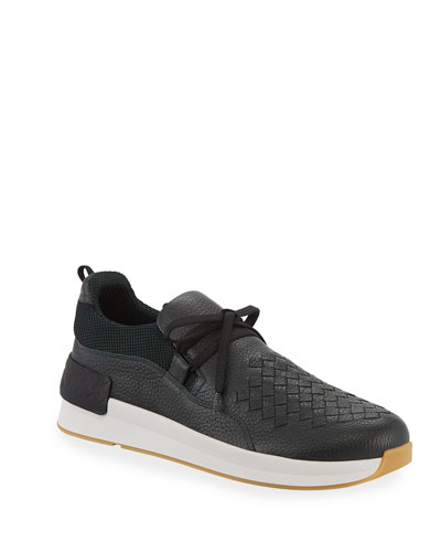 Men's Intrecciato Leather Low-Top Sneakers