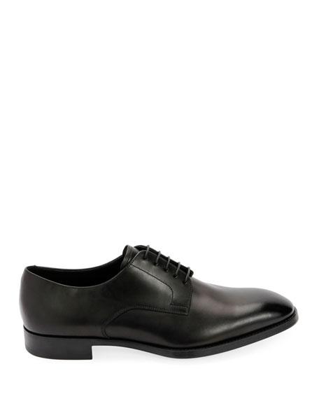 Giorgio Armani Men's Smooth Leather Rubber-Sole Derby Shoe